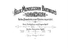 Three Preludes and Fugues, Op.37: For piano four hands by Felix Mendelssohn-Bartholdy