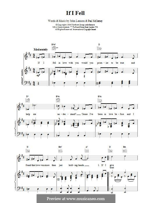 If I Fell (The Beatles): For voice and piano by John Lennon, Paul McCartney