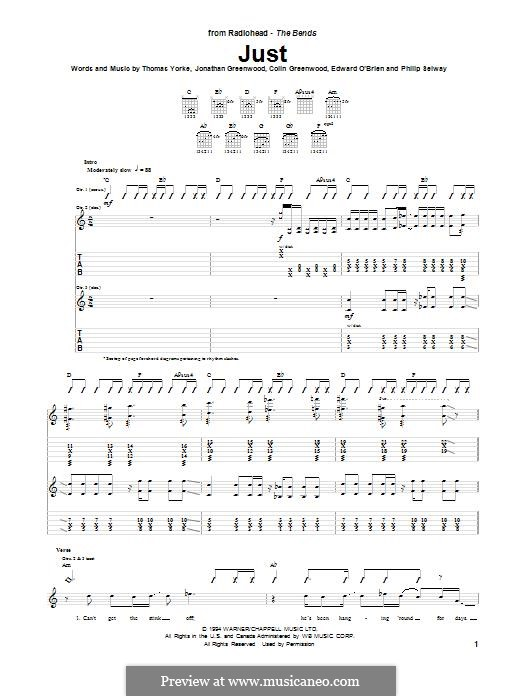 Just (Radiohead): For guitar with tab by Colin Greenwood, Ed O'Brien, Jonny Greenwood, Mark Ronson, Phil Selway, Thomas Yorke