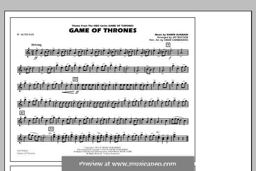 Game of Thrones (arr. Jay Bocook): Eb Alto Sax part by Ramin Djawadi