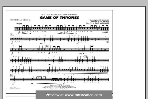Game of Thrones (arr. Jay Bocook): Multiple Bass Drums part by Ramin Djawadi