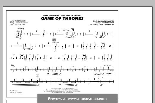 Game of Thrones (arr. Jay Bocook): Aux Percussion part by Ramin Djawadi