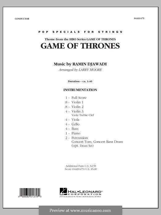 Game of Thrones: For string orchestra, piano and percussion – full score by Ramin Djawadi