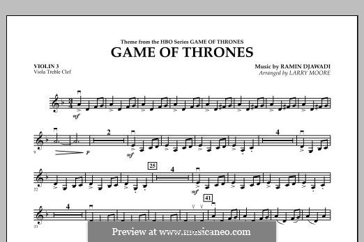 Game of Thrones: For string orchestra, piano and percussion - violin 3 (Viola Treble Clef) part by Ramin Djawadi