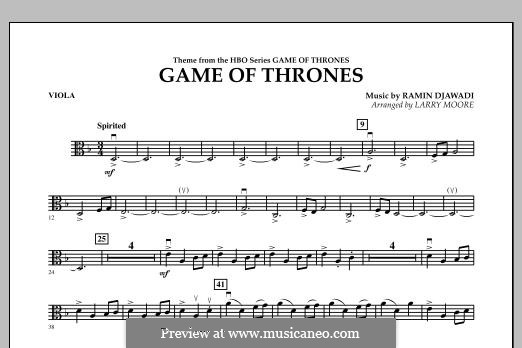 Game of Thrones: For string orchestra, piano and percussion - viola part by Ramin Djawadi