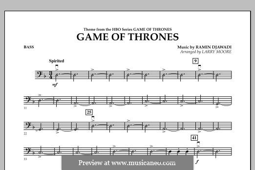 Game of Thrones: For string orchestra, piano and percussion - bass part by Ramin Djawadi