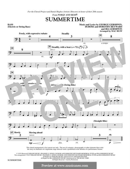 Summertime: String Bass/Electric Bass part by George Gershwin