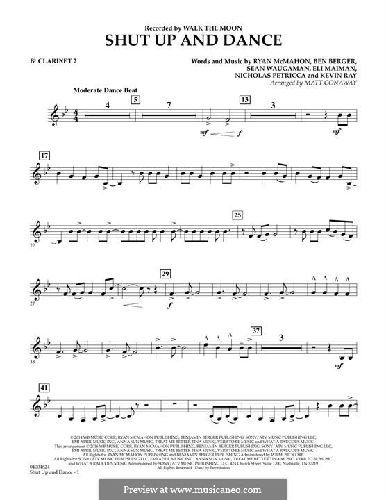 Shut Up and Dance (Walk the Moon): Bb Clarinet 2 part (arr. Matt Conaway) by Nicholas Petricca, Ryan McMahon, Eli Maiman, Ben Berger, Sean Waugaman