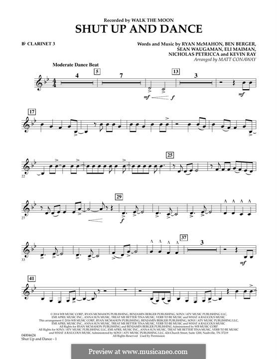 Shut Up and Dance (Walk the Moon): Bb Clarinet 3 part (arr. Matt Conaway) by Nicholas Petricca, Ryan McMahon, Eli Maiman, Ben Berger, Sean Waugaman