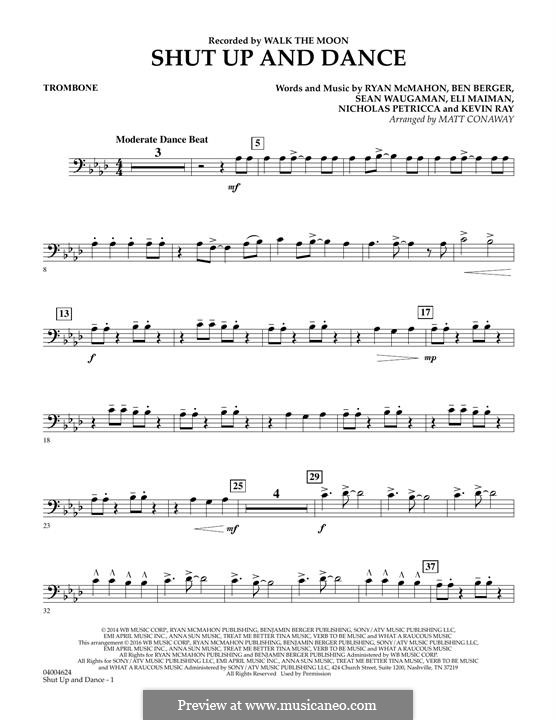 Shut Up and Dance (Walk the Moon): Trombone part (arr. Matt Conaway) by Nicholas Petricca, Ryan McMahon, Eli Maiman, Ben Berger, Sean Waugaman