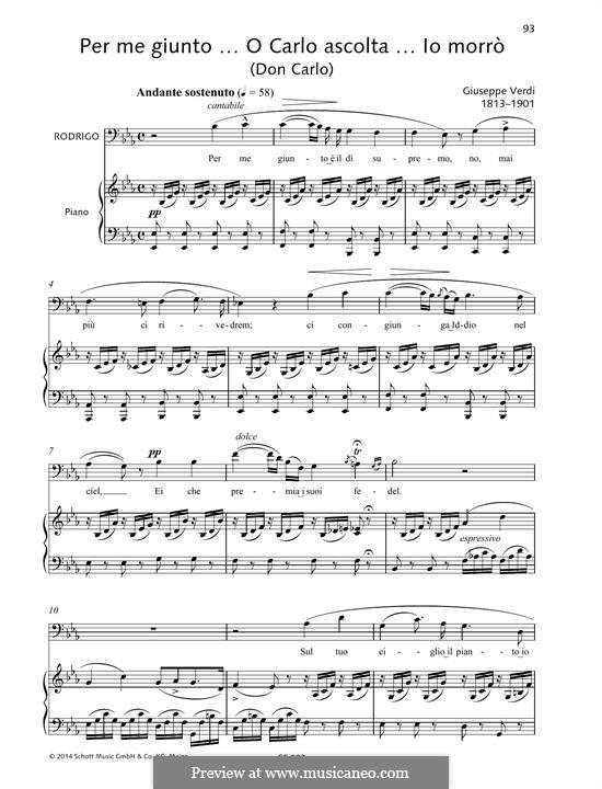 Per me giunto... O Carlo ascolta... lo morrò: Per me giunto... O Carlo ascolta... lo morrò by Giuseppe Verdi