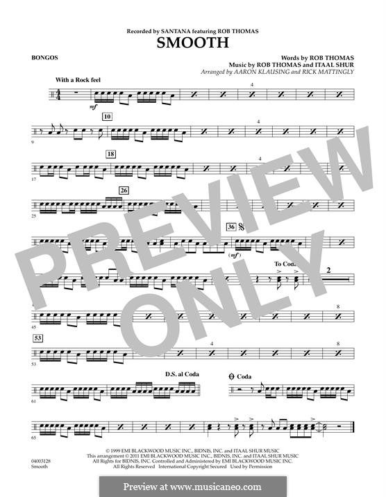 Smooth (Santana featuring Rob Thomas): Bongos part by Itaal Shur, Rob Thomas