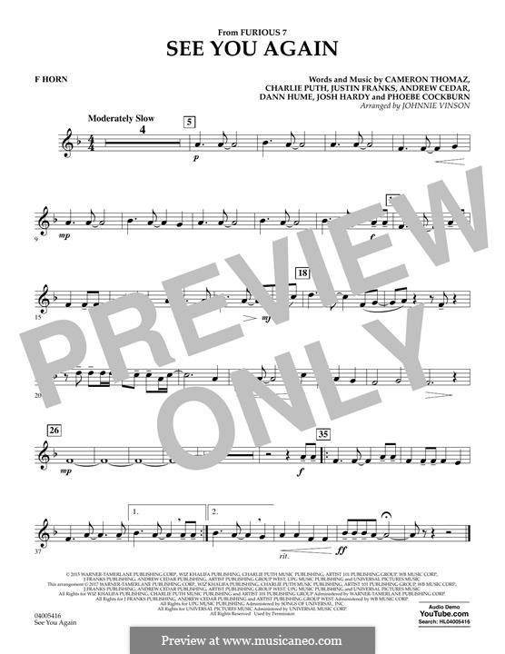 See You Again (Wiz Khalifa feat. Charlie Puth) arr. Johnnie Vinson: F Horn part by Justin Franks, Wiz Khalifa, Andrew Cedar, Charlie Puth