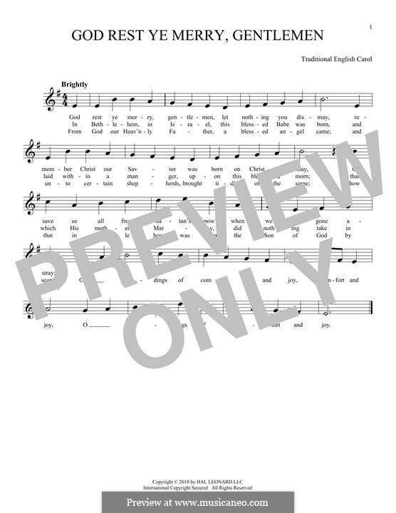 God Rest You Merry, Gentlemen (Printable Scores): For flute by folklore