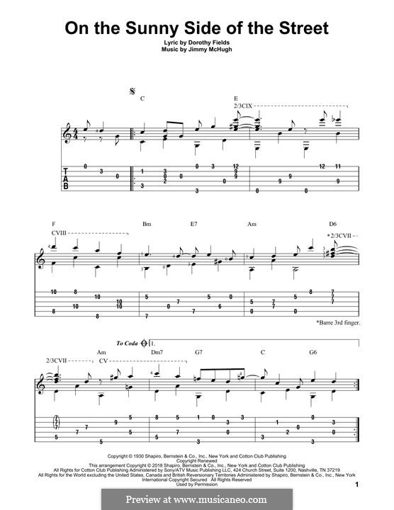 On the Sunny Side of the Street: For guitar by Jimmy McHugh