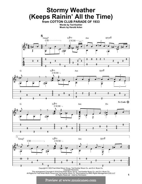 Stormy Weather (Lena Horne): For guitar with tab by Harold Arlen