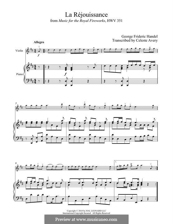 La Rejouissance: For violin and piano by Georg Friedrich Händel