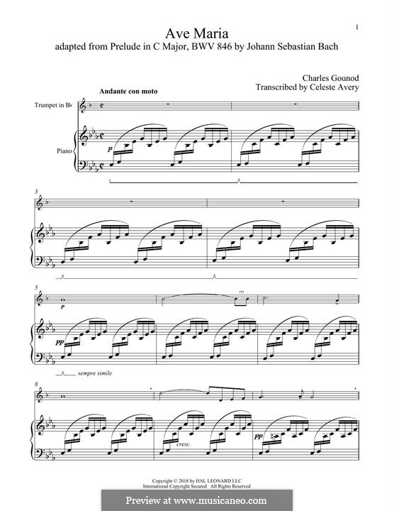 Ave Maria (Printable Sheet Music): For trumpet and piano by Johann Sebastian Bach, Charles Gounod