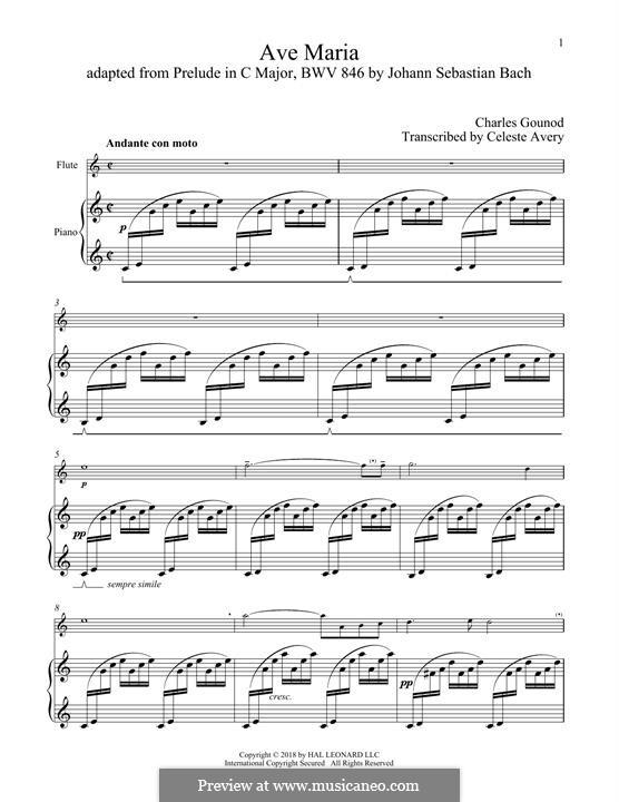 Ave Maria (Printable Sheet Music): For flute and piano by Johann Sebastian Bach, Charles Gounod