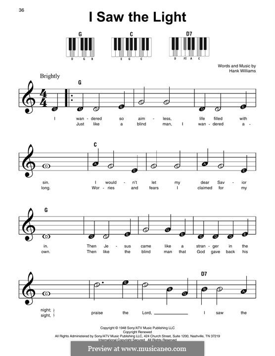 I Saw the Light: For piano by Hank Williams