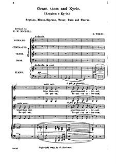 Messa da Requiem: Arrangement for soloists, choir and piano by Giuseppe Verdi