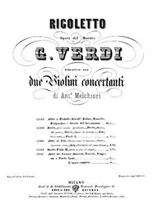 Complete Opera: Version for two violins – parts by Giuseppe Verdi