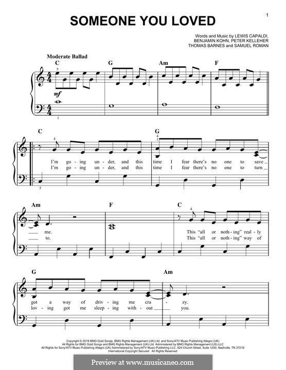 Someone You Loved: For piano by Benjamin Kohn, Peter Kelleher, Thomas Barnes, Samuel Roman, Lewis Capaldi