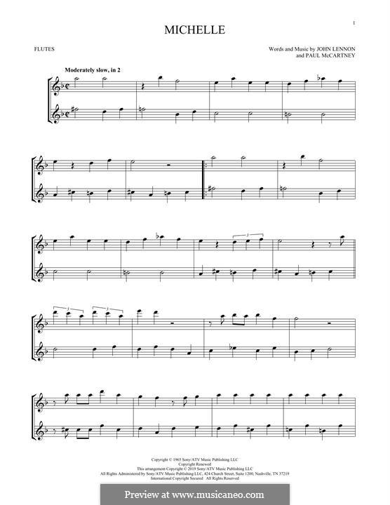 Michelle (The Beatles): For two flutes by John Lennon, Paul McCartney