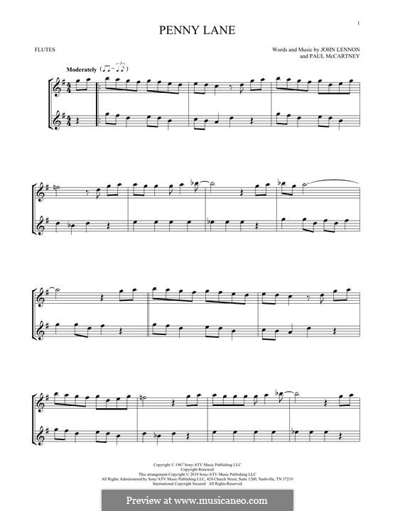 Penny Lane (The Beatles): For two flutes by John Lennon, Paul McCartney