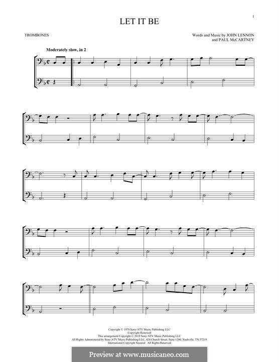 Let it Be (The Beatles): For two trombones by John Lennon, Paul McCartney
