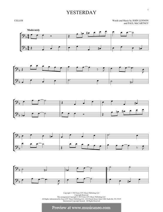 Yesterday (The Beatles): For two cellos by John Lennon, Paul McCartney