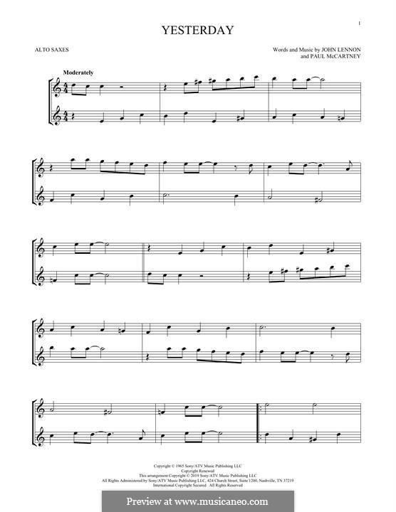 Yesterday (The Beatles): For two alto saxophones by John Lennon, Paul McCartney