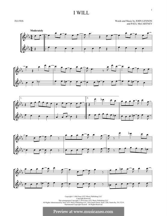 I Will (The Beatles): For two flutes by John Lennon, Paul McCartney