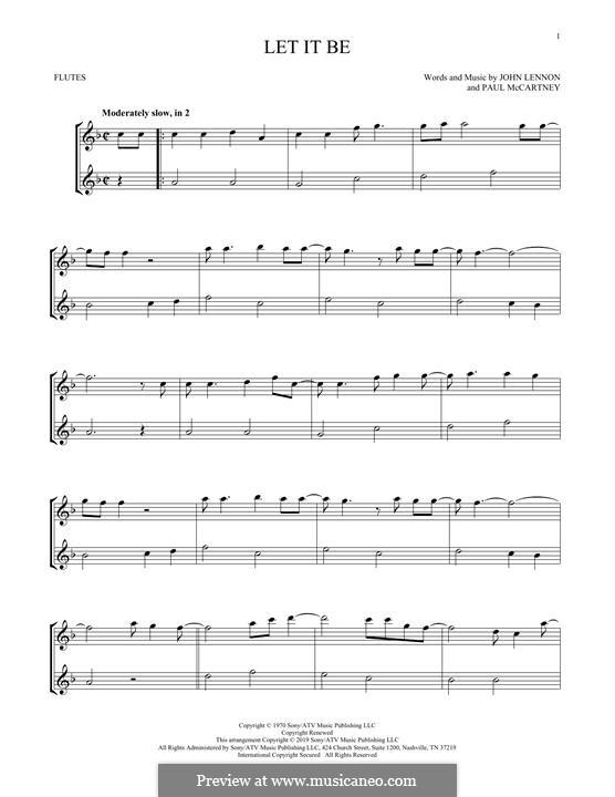 Let it Be (The Beatles): For two flutes by John Lennon, Paul McCartney