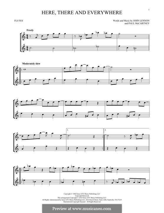 Here, There and Everywhere (The Beatles): For two flutes by John Lennon, Paul McCartney