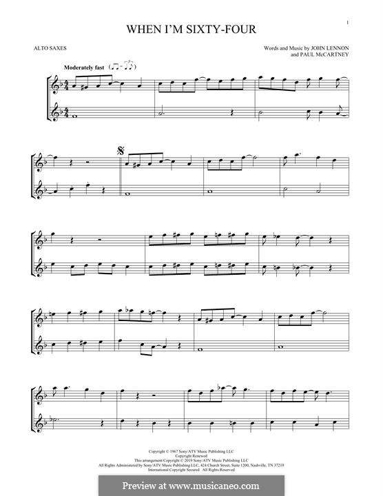 When I'm Sixty-Four (The Beatles): For two alto saxophones by John Lennon, Paul McCartney