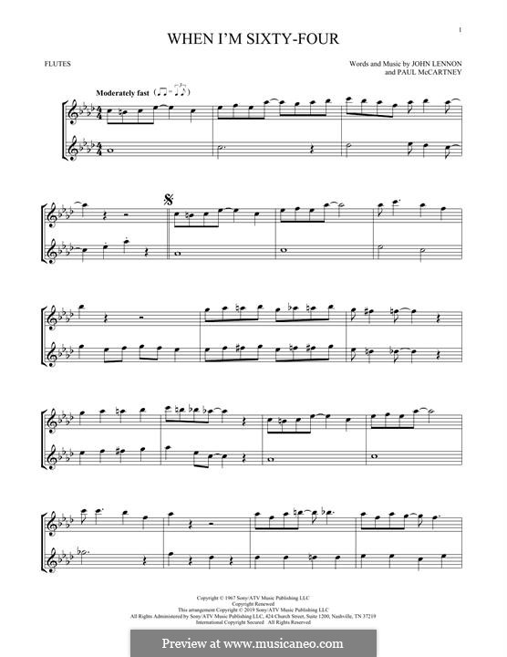 When I'm Sixty-Four (The Beatles): For two flutes by John Lennon, Paul McCartney