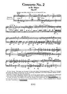 Concerto for Piano and Orchestra No.2, Op.19: Allegro, for two pianos four hands by Ludwig van Beethoven
