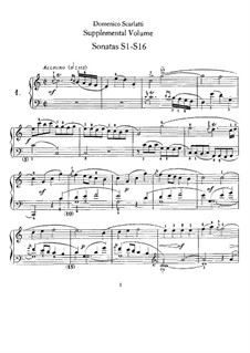 Sonatas for Harpsichord (or Piano): Supplement No.1-16 by Domenico Scarlatti