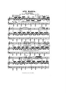 Ave Maria, D.839 Op.52 No.6: For voice and piano in A Flat Major (German, French Texts) by Franz Schubert