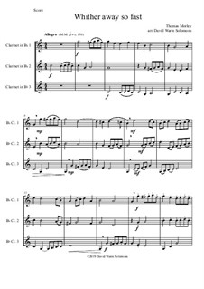 Whither Away So Fast: For clarinet trio by Thomas Morley