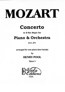 Concerto for Piano and Orchestra No.9 in E Flat Major 'Jeunehomme', K.271: Arrangement for piano by Wolfgang Amadeus Mozart