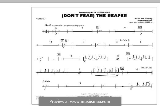 Don't Fear / The Reaper (Blue Oyster Cult): Cymbals part (arr. Paul Murtha) by Donald Roeser