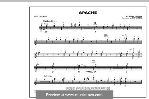 Apache (The Shadows): 1st Bb Trumpet part (arr. Tim Waters) by Jerry Lordan