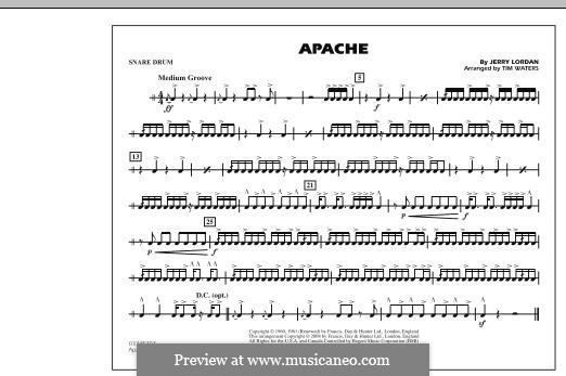 Apache (The Shadows): Snare Drum part (arr. Tim Waters) by Jerry Lordan