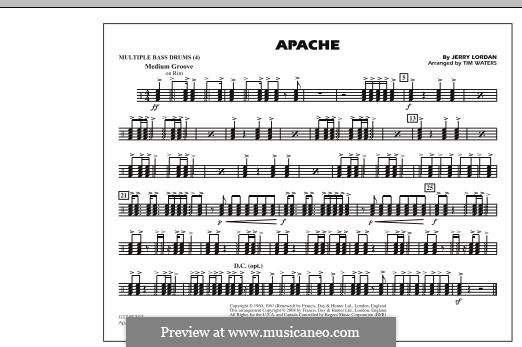Apache (The Shadows): Multiple Bass Drums part (arr. Tim Waters) by Jerry Lordan