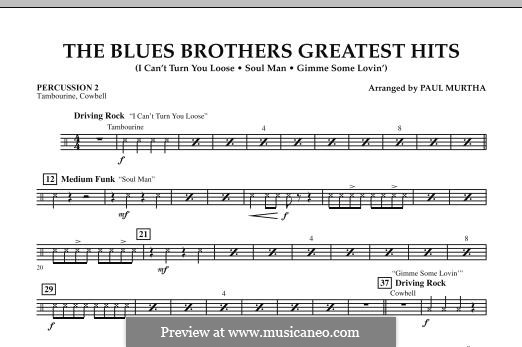 The Blues Brothers Greatest Hits: Percussion 2 part by David Porter, Isaac Hayes, Muff Winwood, Otis Redding, Spencer Davis, Steve Winwood