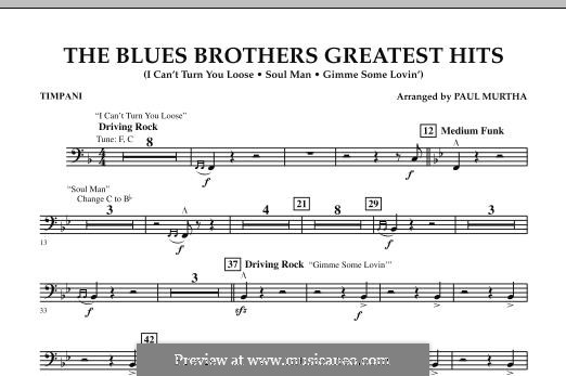 The Blues Brothers Greatest Hits: Timpani part by David Porter, Isaac Hayes, Muff Winwood, Otis Redding, Spencer Davis, Steve Winwood