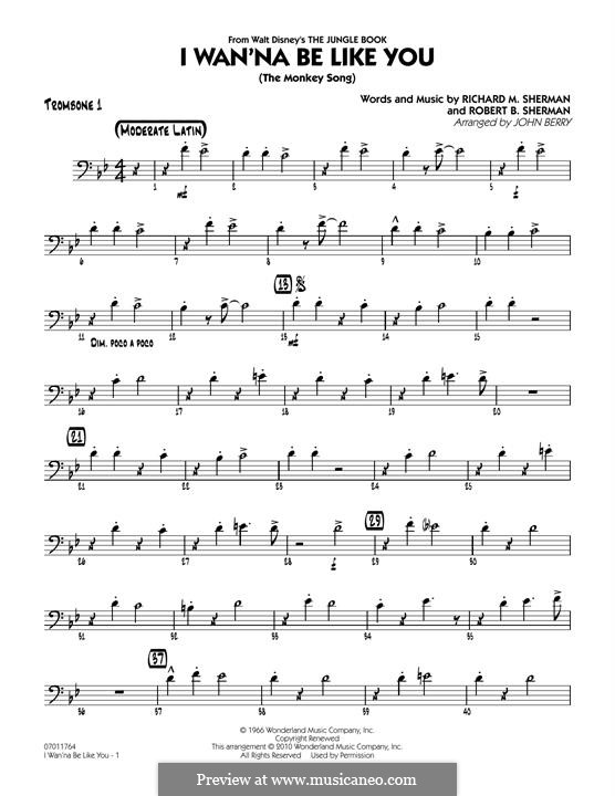 I Wanna Be Like You (The Monkey Song): Trombone 1 part (arr. John Berry) by Richard M. Sherman, Robert B. Sherman