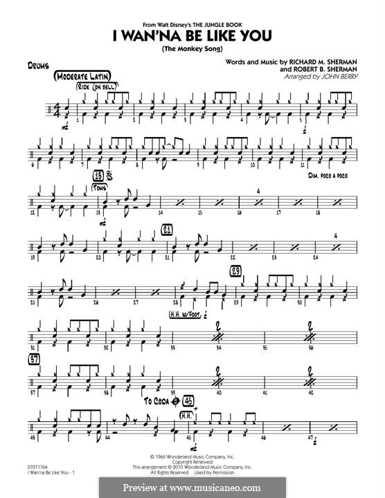 I Wanna Be Like You (The Monkey Song): Drums part (arr. John Berry) by Richard M. Sherman, Robert B. Sherman